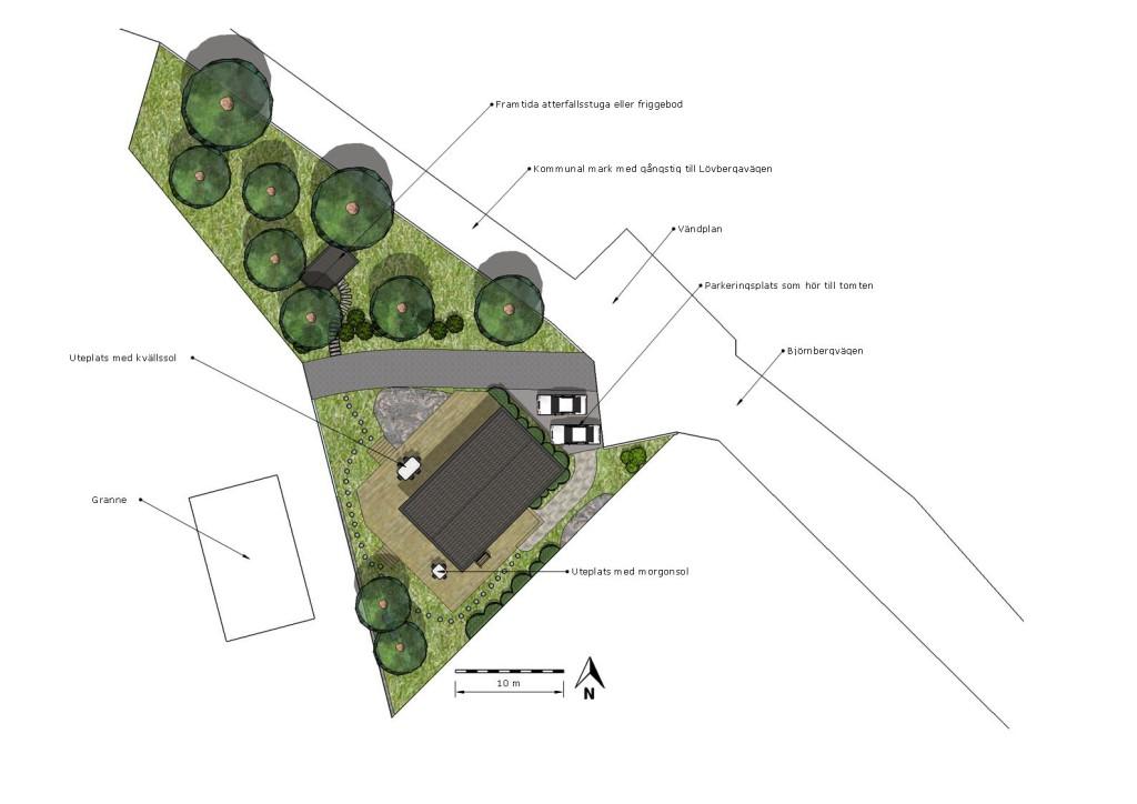 Planritning till en mäklarannons för ett nybyggt hus utan uppvuxen trädgård